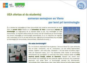 Jovens universitários terão ajuda de uma semana na Universidade de Viena / Junaj studentoj estos subtenataj en Vieno